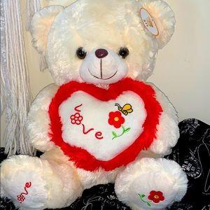 🧸✨ Fluffy Bear Teddy w Heart Cushion